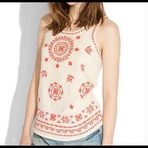 Lucky Brand | Cream & Orange Embroidered Top | XL